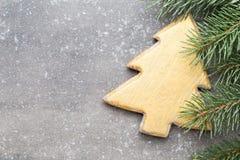 Cartão do Natal com as decorações do ouro do Natal Imagens de Stock
