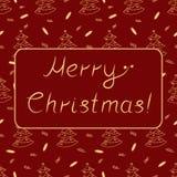 Cartão do Natal com as palavras escritas à mão que desejam o Feliz Natal em um fundo de repetição com árvores de Natal Fotografia de Stock
