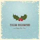 Cartão do Natal com azevinho Fotografia de Stock Royalty Free