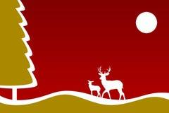 Cartão do Natal com cervos ilustração royalty free