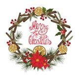 Cartão do Natal com citrino, especiaria doodles ilustração royalty free