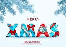 Cartão do Natal com curva do presente, ramo do abeto vermelho em h ilustração royalty free