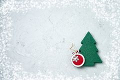 Cartão do Natal com decoração do Natal Copie o espaço Foto de Stock