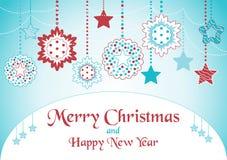 Cartão do Natal com estrelas Fotografia de Stock