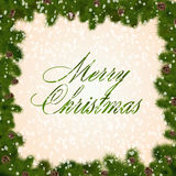Cartão do Natal com filiais do abeto ilustração stock