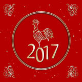 Cartão 2017 do Natal com galo Imagens de Stock