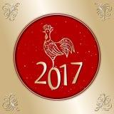 Cartão 2017 do Natal com galo Foto de Stock