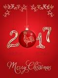 Cartão 2017 do Natal com galo Fotos de Stock