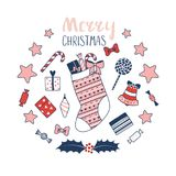 Cartão do Natal com meia e presentes Imagem de Stock Royalty Free