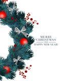 Cartão 2019 do Natal com objetos do feriado 3d Feliz Natal e tipografia do ano novo feliz com beira do abeto ilustração do vetor