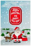 Cartão do Natal com Santa Fotografia de Stock Royalty Free