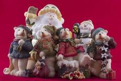 Cartão do Natal com Santa, boneco de neve, snowf Imagens de Stock Royalty Free