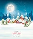 Cartão do Natal contra a vila coberto de neve ilustração stock