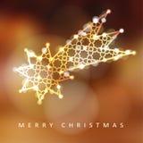 Cartão do Natal, convite com a estrela de queda iluminada, cometa de brilho Foto de Stock