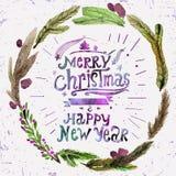 Cartão do Natal da aquarela com a grinalda dos galhos do azevinho e do Feliz Natal do texto Arte da aquarela Decoração do Natal ilustração stock