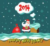 Cartão do Natal do cumprimento e do ano novo. Fotos de Stock Royalty Free