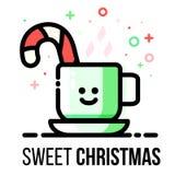Cartão do Natal do vetor Caneca quente da bebida do inverno com bastão de doces Vara do açúcar em cozinhar o copo Linha estilo li Foto de Stock