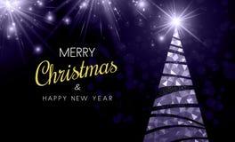 Cartão do Natal e do ano novo com a árvore de Natal abstrata Ilustração Stock