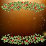 Cartão do Natal e do ano novo com bagas Vetor do EPS 10 Fotos de Stock Royalty Free