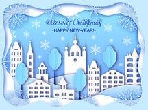 Cartão do Natal e do ano novo feliz Fotografia de Stock Royalty Free