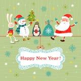 Cartão do Natal e do ano novo. ilustração stock