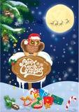 Cartão do Natal e do ano novo com as renas do voo no céu Imagem de Stock