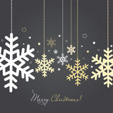 Cartão do Natal e do ano novo com flocos de neve Imagens de Stock