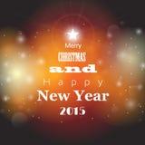 Cartão do Natal e do ano novo com o backgro abstrato do bokeh Fotografia de Stock Royalty Free