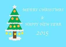 Cartão do Natal e do ano novo feliz 2015 Fotografia de Stock Royalty Free