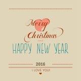 Cartão 2016 do Natal e do ano novo lettering ilustração royalty free