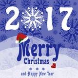 Cartão do Natal e do ano novo no estilo retro Trações da neve, flocos de neve bonitos e o Feliz Natal das palavras com chapéu e a Imagem de Stock