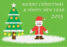 Cartão do Natal e dos desenhos animados do ano novo Imagem de Stock