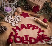 Cartão do Natal, lápis e decorações do Natal no estilo do vintage Imagens de Stock