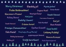 Cartão do Natal, polylanguage Imagens de Stock