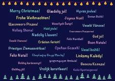 Cartão do Natal, polylanguage Fotografia de Stock