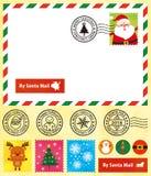 Cartão do Natal, selos bonitos, carimbo postal ilustração royalty free