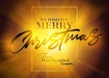 Cartão do Natal do vetor com tipografia Fotografia de Stock Royalty Free