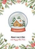 Cartão do Natal do vetor da aquarela com bola e casa de vidro, ramos spruce e presentes ilustração stock