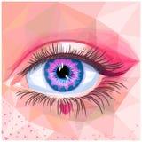 Cartão do olho humano no estilo do polígono ilustração royalty free