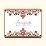 Cartão do ouro do vintage com a decoração da joia do diamante Fotos de Stock Royalty Free