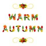 Cartão do outono Outono morno Letras bonitas compostas das folhas vermelhas, amarelas, verdes e alaranjadas bonitas da queda Foto de Stock