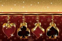 Cartão do póquer do Natal Fotografia de Stock