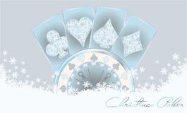 Cartão do pôquer do Natal Fotografia de Stock