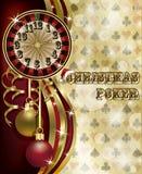 Cartão do pôquer do Natal, vetor Imagens de Stock Royalty Free