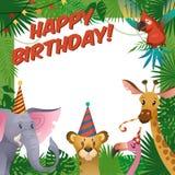 Cartão do partido dos animais da selva O jardim zoológico tropical do cumprimento da festa do bebê do feliz aniversario comemora  ilustração stock