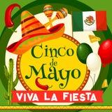 Cartão do partido do vetor de Cinco de Mayo Mexican ilustração royalty free