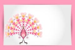 Cartão do pavão do pássaro do amor do Valentim Imagem de Stock Royalty Free
