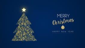 Cartão do pinheiro do brilho do Natal e do ouro do ano novo filme