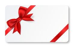 Cartão do presente com fita vermelha Fotos de Stock