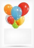 Cartão do presente com ilustração do vetor dos balões Fotografia de Stock